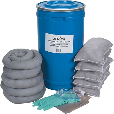 Zenith Safety 16-Gallon Spill Kits, Universal, With Polyethylene Pail