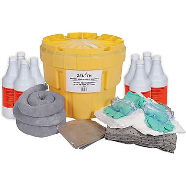 Zenith Safety 20-Gallon Battery Acid Spill Kits, With Polyethylene Container