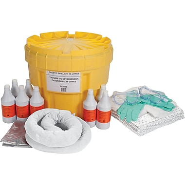 Zenith Safety 20-Gallon Caustic Spill Kits, With Polyethylene Container