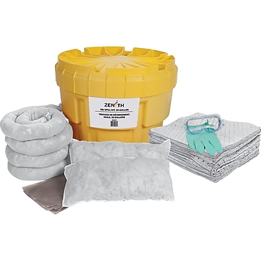 Zenith Safety 20-Gallon Spill Kits, Oil Only, With Polyethylene Drum