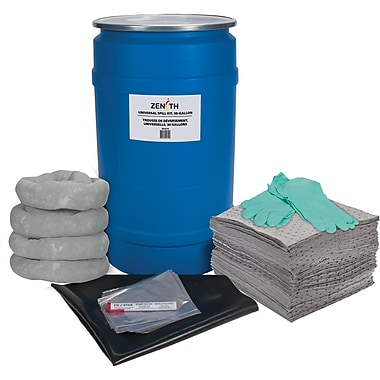 Zenith Safety 30-Gallon Shop Spill Kits, Universal, With Polyethylene Drum
