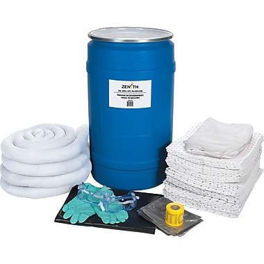 Zenith Safety 30-Gallon Spill Kits, Oil Only, With Polyethylene Drum