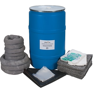 Zenith Safety 55-Gallon Eco-Friendly Spill Kits, Universal, With Polyethylene Drum