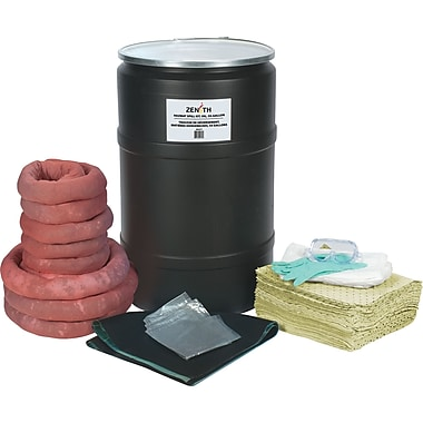 Zenith Safety 55-Gallon Spill Kits, Hazmat, With Polyethylene Drum