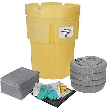 Zenith Safety 95-Gallon Economy Spill Kits, Universal, With Overpack Drum