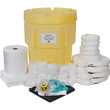 Zenith Safety 95-Gallon Industrial Spill Kits, Oil Only, With Overpack Drum