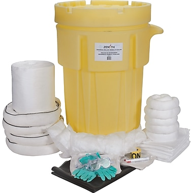 Zenith Safety 95-Gallon Industrial Spill Kits, Oil Only, With Mobile Overpack Drum