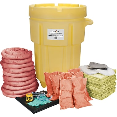 Zenith Safety 95-Gallon Shop Spill Kits, Hazmat, With Mobile Overpack Drum