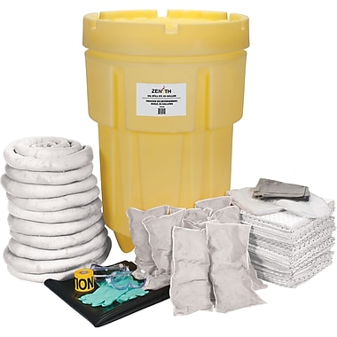Zenith Safety 95-Gallon Shop Spill Kits, Oil Only, With Overpack Drum