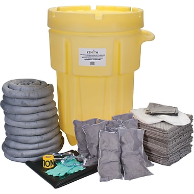 Zenith Safety 95-Gallon Shop Spill Kits, Universal, With Mobile Overpack Drum