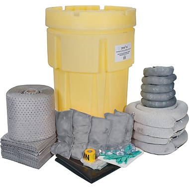 Zenith Safety 95-Gallon Spill Kits, Universal, With Mobile Overpack Drum