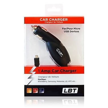 LBT 1 Amp Micro USB Car Charger with Extended Coil Cord