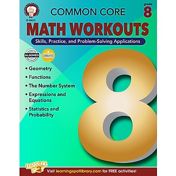 Common Core Math Workouts Resource Book, Grade 8,Size: med