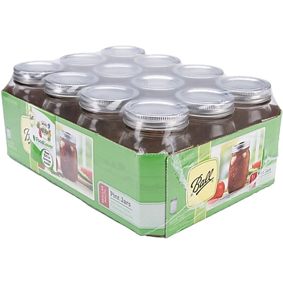 Loew-Cornell Glass with Tinplate Steel Mouth Mason Jars with Lids and Bands, Pint, 12-count, Regular (61000)