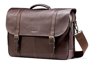 Samsonite Brown Leather Flapover Laptop Briefcase 15.6