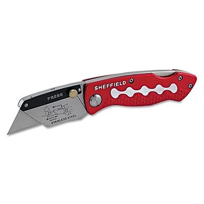 Great Neck® Sheffield® Steel/Aluminum Ultimate Folding Lockback Utility Knife, Red