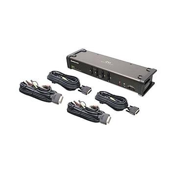 IOGEAR – Commutateur KVM DVI à 4 ports avec audio et câbles (GCS1104)