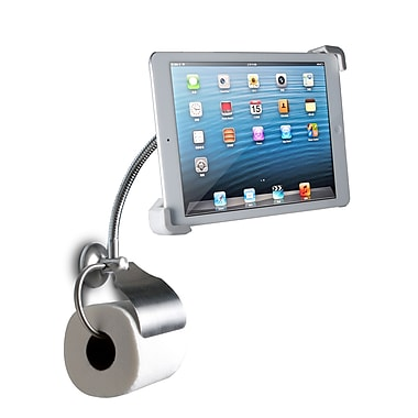 CTA Digital Wall Mount Bathroom Stand with Paper Holder for iPad and Tablets