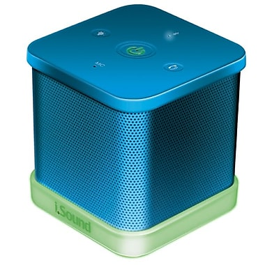 DreamGEAR iGlowSound Cube Wireless Speaker with Built-In Speakerphone, Blue