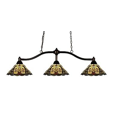Z-Lite Chance (147BRZ-Z14-46)  Luminaire de billard à trois lumières, 50 po x 14 po x 13,5 po, bronze