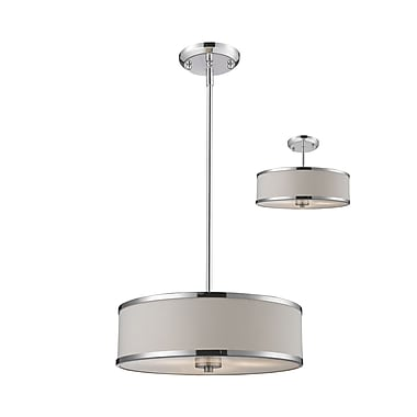Z-Lite Cameo (164-16) - Suspension convertible à trois lumières, 15,63 po x 53,5 po, chrome