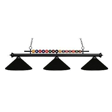 Z-Lite Shark (170MB-MMB) - Luminaire de billard à trois lumières, 60 po x 14 po x 15 po, noir mat