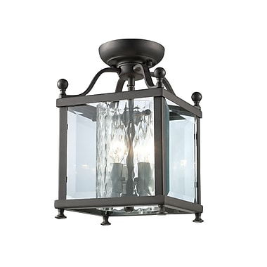 Z-Lite Fairview (177-3SF-S) - Lampe semi-encastrée à trois lumières, 8,25 po x 12,5 po, bronze