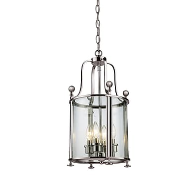 Z-Lite Wyndham (191-4) - Suspension à quatre lumières, 11,5 po x 21 po, nickel brossé