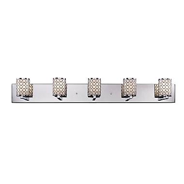 Z-Lite Synergy (199-5V) - Luminaire pour salle de bains à cinq lumières 4,75 po x 39,38 po x 5,75 po, chrome/opale mat