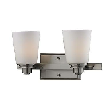 Z-Lite Nile (2100-2V) - Luminaire pour salle de bains à deux lumières, 6 po x 15 po x 8 po, nickel brossé