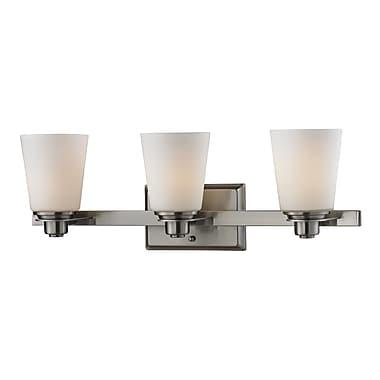 Z-Lite Nile (2100-3V) - Luminaire pour salle de bains à trois lumières, 6 po x 23 po x 8 po, nickel brossé
