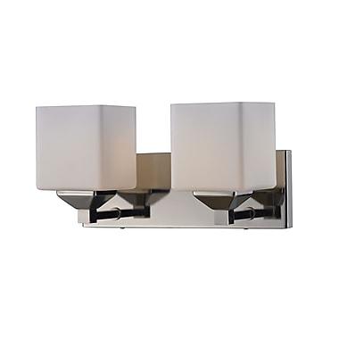Z-Lite Quube (2105-2V) - Luminaire pour salle de bains à deux lumières, 6 po x 17 po x 6,75 po, chrome