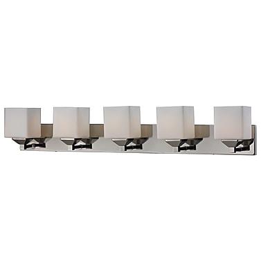 Z-Lite Quube (2105-5V) - Luminaire pour salle de bains à cinq lumières, 6 po x 38,5 po x 6,75 po, chrome