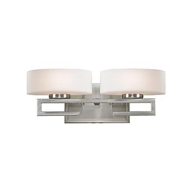 Z-Lite Cetynia (3010-2V) - Luminaire pour salle de bains à deux lumières, 5,63 po x 16 po x 5,88 po, nickel brossé