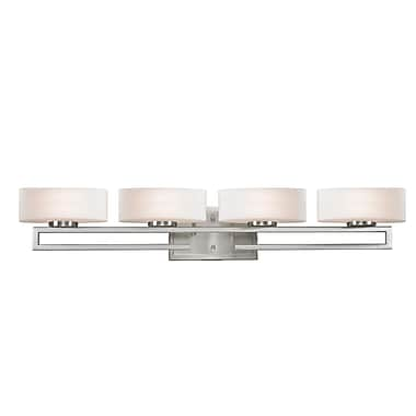 Z-Lite Cetynia (3010-4V) - Luminaire pour salle de bains à quatre lumières, 5,63 po x 32,88 po x 5,88 po, nickel brossé