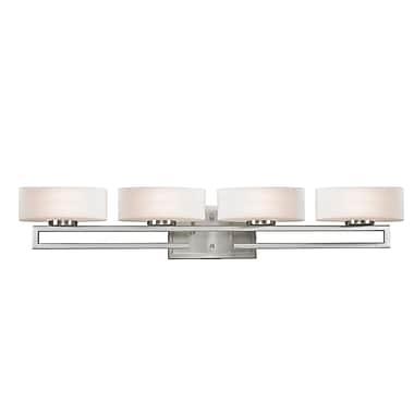 Z-Lite Cetynia Vanity Light, Brushed Nickel, Matte Opal Glass Shade (3010-4V-LED)