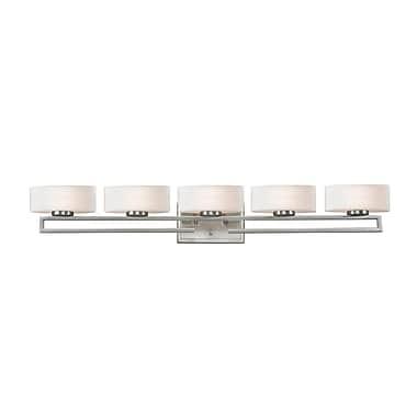 Z-Lite Cetynia (3010-5V) - Luminaire pour salle de bains à cinq lumières, 5,63 po x 41,38 po x 5,88 po, nickel brossé