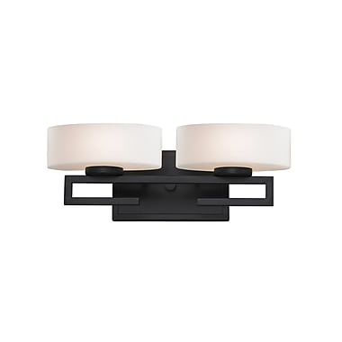 Z-Lite Cetynia Vanity Light, Bronze, Matte Opal Glass Shade (3012-2V-LED)