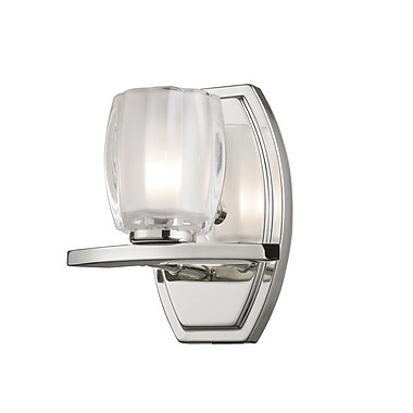 Z-Lite Haan (3018-1V) - Luminaire pour salle de bains à une lumière, 5,63 po x 7 po x 8 po, chrome