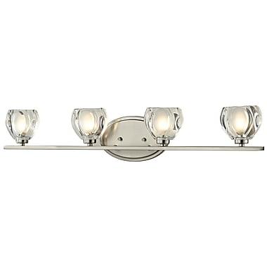 Z-Lite Hale (3022-4V) - Luminaire pour salle de bains à quatre lumières, 3,75 po x 29,25 po x 5,75 po, nickel brossé