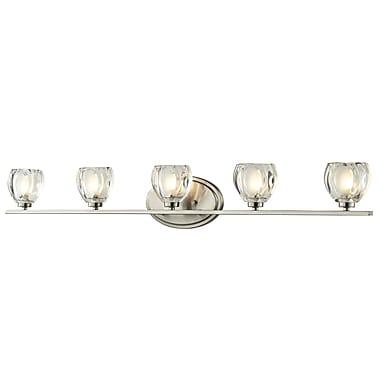 Z-Lite Hale (3022-5V) - Luminaire pour salle de bains à cinq lumières, 3,75 po x 37,5 po x 5,75 po, nickel brossé
