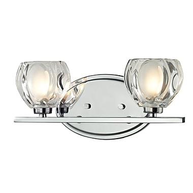 Z-Lite Hale (3023-2V) - Luminaire pour salle de bains à deux lumières, 3,75 po x 12,75 po x 5,75 po, chrome