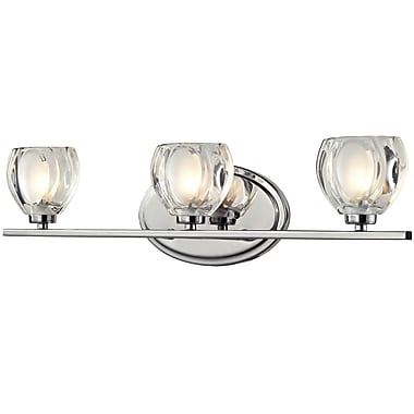Z-Lite Hale Vanity Light, Chrome, Clear + Frosted Glass Shade (3023-3V-LED)