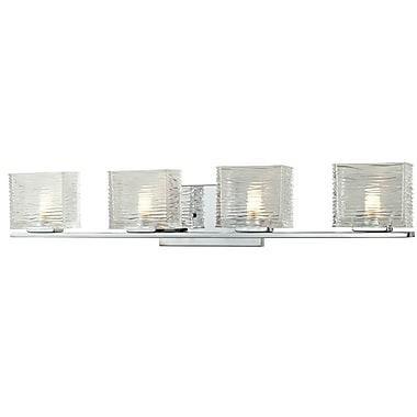 Z-Lite Jaol (3025-4V) - Luminaire pour salle de bains à quatre lumières, 3,75 po x 31,13 po x 5,63 po, chrome