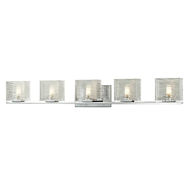Z-Lite Jaol (3025-5V) - Luminaire pour salle de bains à cinq lumières, 3,75 po x 39,75 po x 5,63 po, chrome