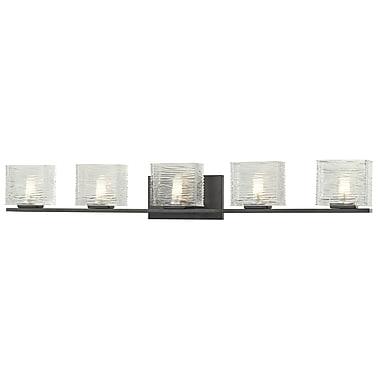 Z-Lite Jaol (3026-5V) - Luminaire pour salle de bains à cinq lumières, 3,75 po x 39,75 po x 5,63 po, bronze