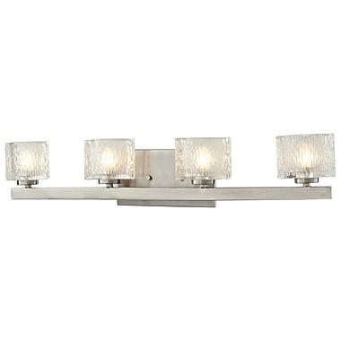 Z-Lite Rai (3027-4V) - Luminaire pour salle de bains à quatre lumières, 4 po x 27,88 po x 5,38 po, nickel brossé