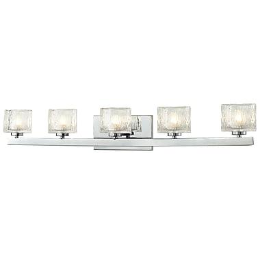Z-Lite Rai (3028-5V) - Luminaire pour salle de bains à cinq lumières, 4 po x 35,75 po x 5,38 po, chrome