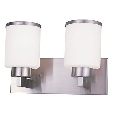 Z-Lite Cosmopolitan (312-2V-NB) - Luminaire pour salle de bains à deux lumières, 7 po x 13 po x 9,75 po, nickel brossé