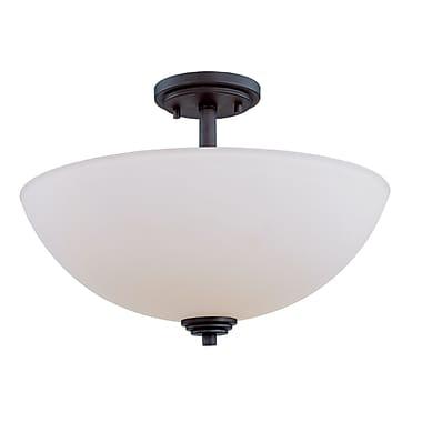 Z-Lite Chelsey (314SF-BRZ) - Lampe semi-encastrée à trois lumières, 15,75 po x 11,25 po, bronze foncé